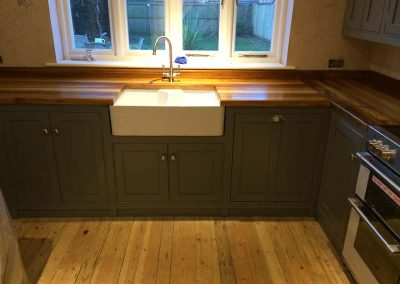 PAINTED KITCHEN WITH IROKO WORKTOP 11